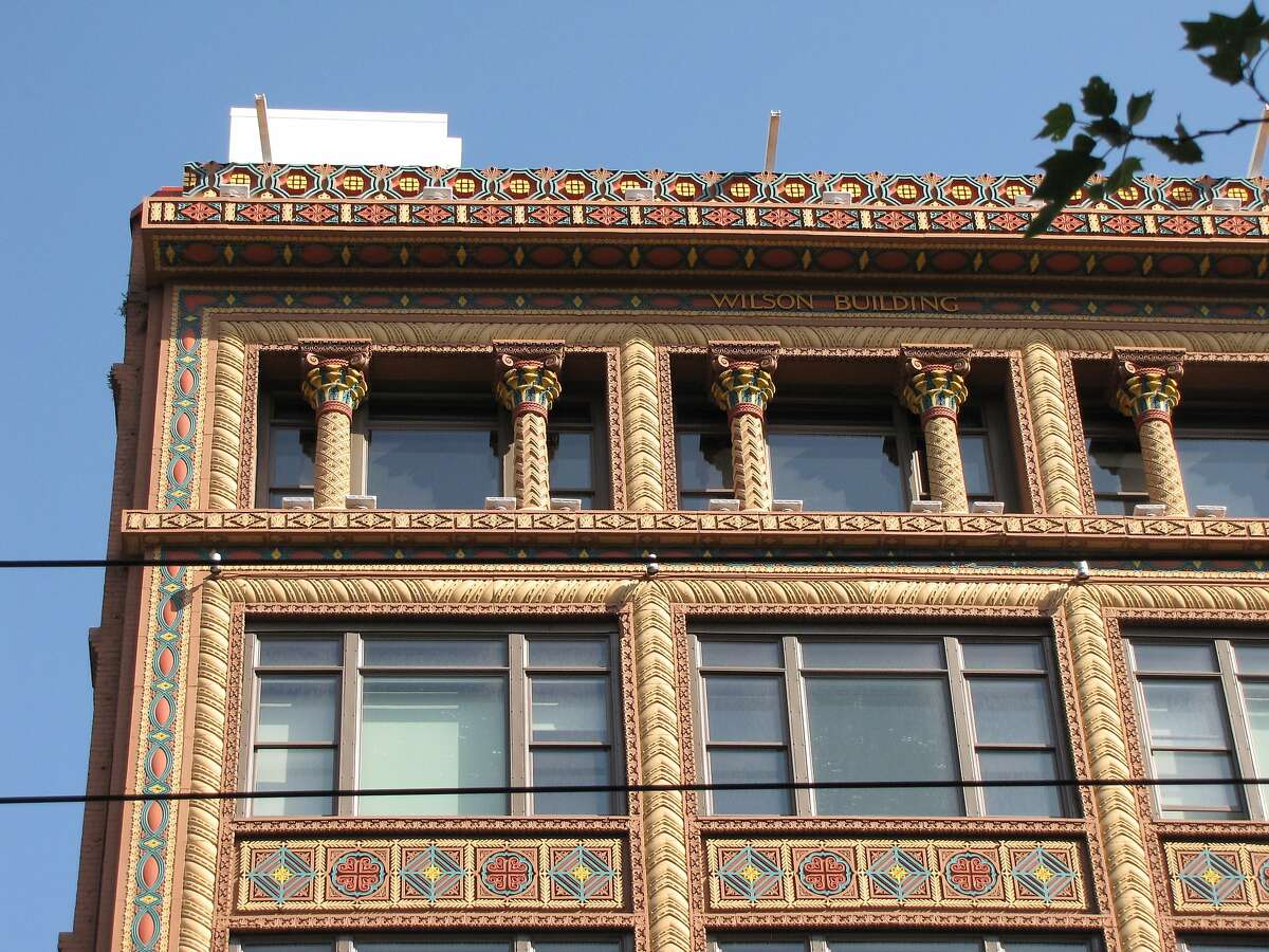 Now known as The Wilson, this seven-story building at 973 Market St. has endured more than a century of ups and downs as the blocks around it changed. The original architects were G.W. Percy and Willis Polk. According to an article when the project was announced in 1900, the inspiration for the tile work was the 6th century Basilica of San Vitale in Ravenna, Italy.