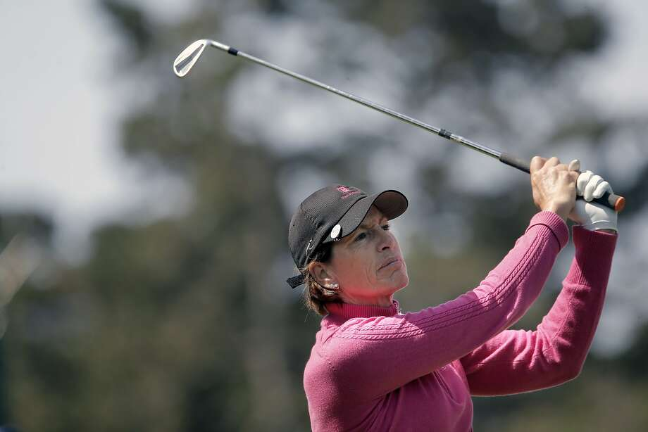 Julie Inkster, Los Altos, Calif., with an iron to the 3rd hole, as round one gets underway at the Swinging Skirts Classic LPGA golf tournament at Lake Merced Golf Course in San Francisco, Calif., on Thurs. April 23, 2015. Photo: Michael Macor, The Chronicle