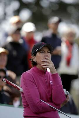 Julie Inkster, of Los Altos, Calif. on the tee box on the 3rd hole, as round one gets underway at the Swinging Skirts Classic LPGA golf tournament at Lake Merced Golf Course in San Francisco, Calif., on Thurs. April 23, 2015.