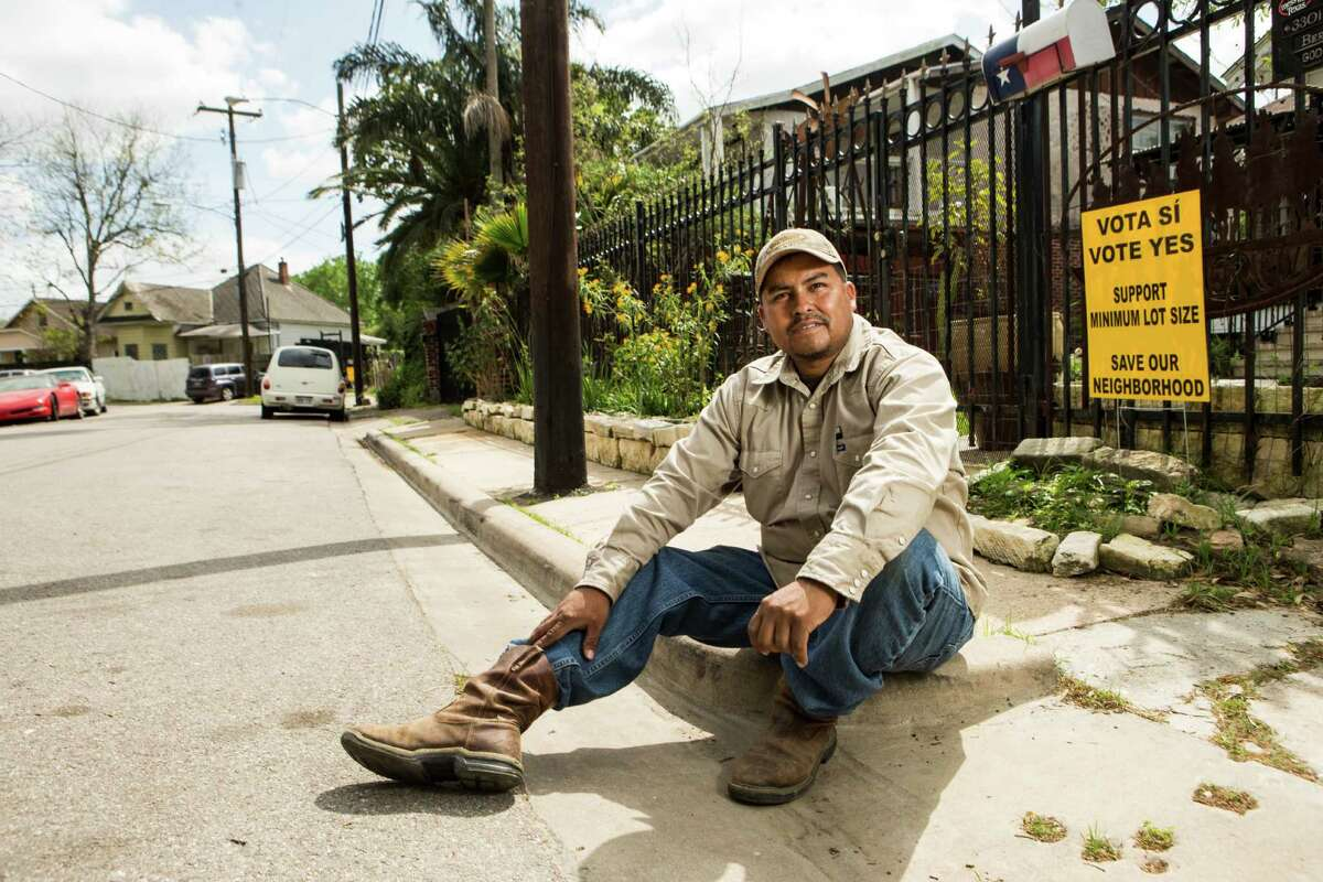 Steve Bermudez sits outside his house in the Glen Park neighborhood in the Near Northside.