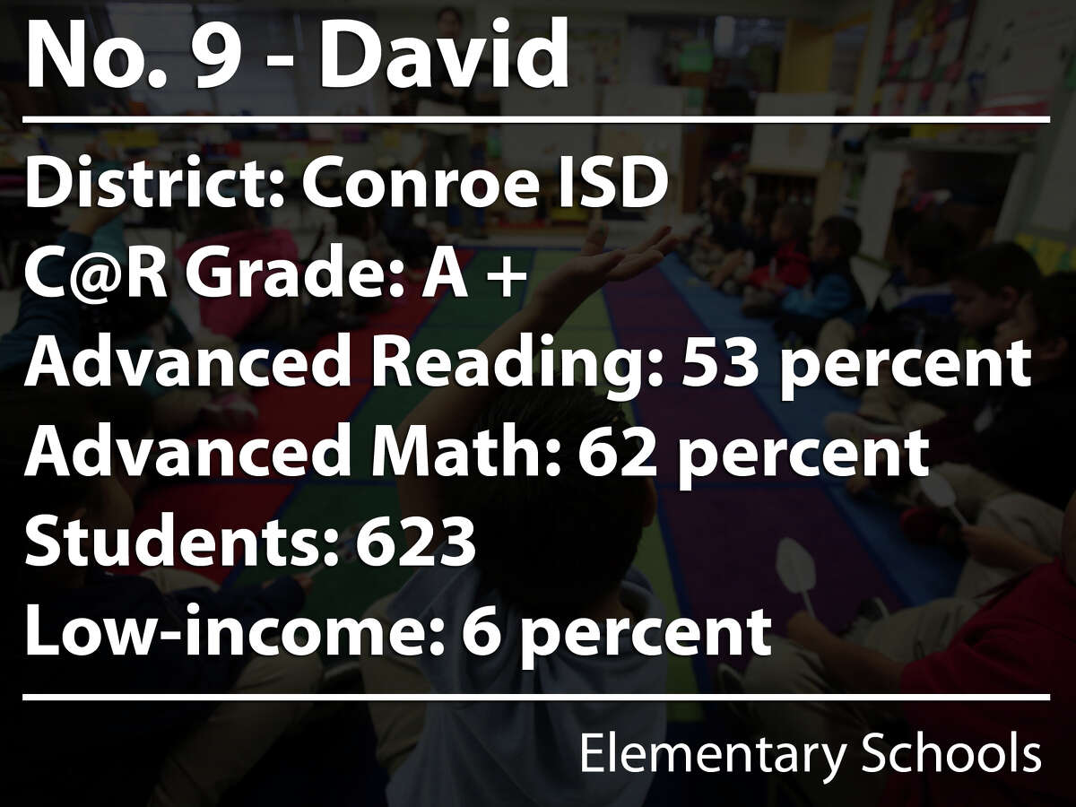 David Elementary was ranked the ninth-best elementary school in the Houston area in Children at Risk's 2015 rankings.