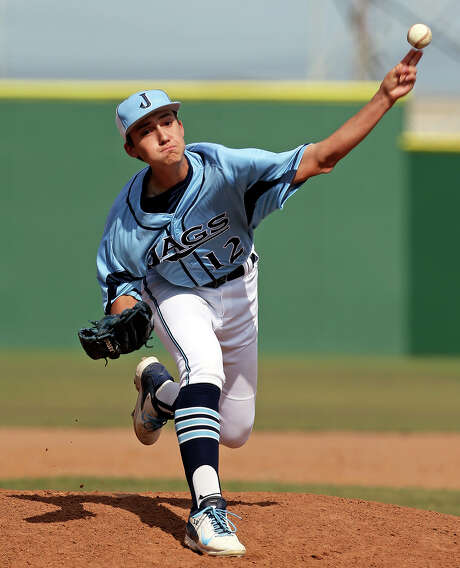 Richard Gilbert gets the start for the Jaguars as Johnson beats Smithson Valley 6-1 in 5A baseball playoff action at Blossom Stadium on May 1, 2014. Photo: Tom Reel / San Antonio Express-News