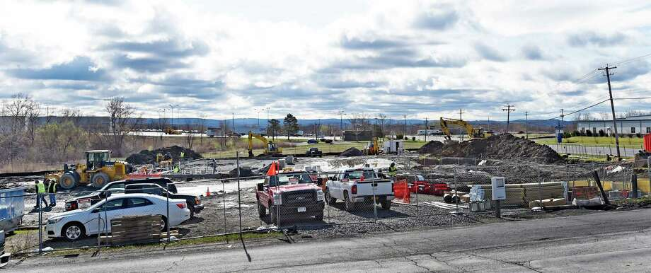 Construction is under way at the corner of Swatling and Troy-Schenectady Roads Thursday morning April 23, 2015 for a new Cumberland Farms store in Latham, N.Y.         (Skip Dickstein/Times Union) Photo: SKIP DICKSTEIN / 00031579A