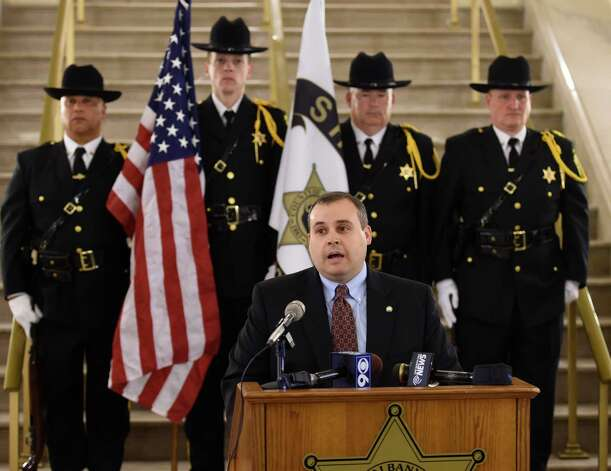Detective Sargent Adam Hornick of the Bethlehem Police Department speaks after receiving the Sheriff George L. Infante Outstanding Achievement in Law Enforcement Award at the Albany County Crime Victims Memorial ceremony Thursday afternoon April 23, 2015 at the Albany County Courthouse in Albany, N.Y.           (Skip Dickstein/Times Union) Photo: SKIP DICKSTEIN / 00031560A
