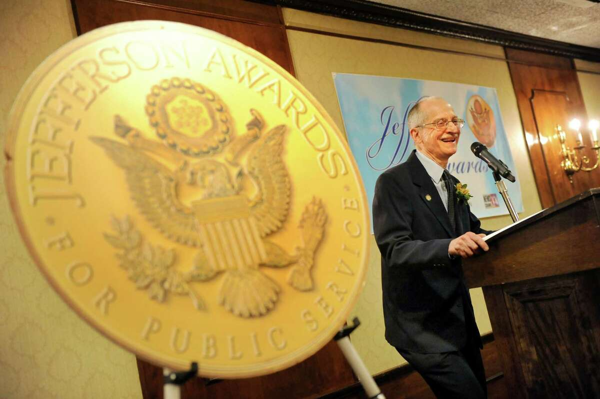 Jefferson Award medalist Steve Kozlowski speaks during the awards dinner on Thursday, April 23, 2015, at the Century House in Latham, N.Y. Kozlowski will represent the Capital Region at the National Jefferson Awards in June in Washington, D.C. (Cindy Schultz / Times Union)