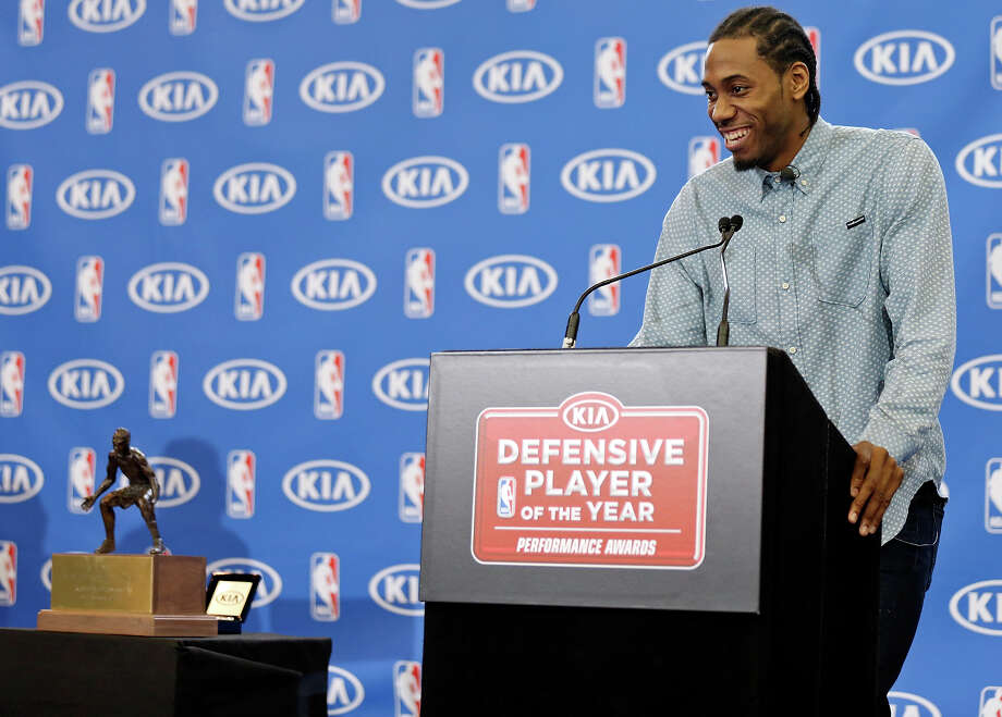 San Antonio Spurs' Kawhi Leonard speaks during a press conference where he was named NBA Defensive Player of the Year Thursday April 23, 2015 at the Spurs practice facility. Photo: Edward A. Ornelas, Staff / San Antonio Express-News / © 2015 San Antonio Express-News
