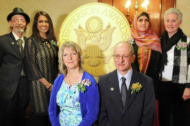 Jefferson Award medalists, from left, Paul Cooke, Fazana Saleem-Ismail, Mary Partridge-Brown, Steve Kozlowski, Uzma Popal and Donna Drum at the awards dinner on Thursday, April 23, 2015, at the Century House in Latham, N.Y. Not pictured is medalist Sarah Lopez-Long. (Cindy Schultz / Times Union) Photo: Cindy Schultz / 00031490A