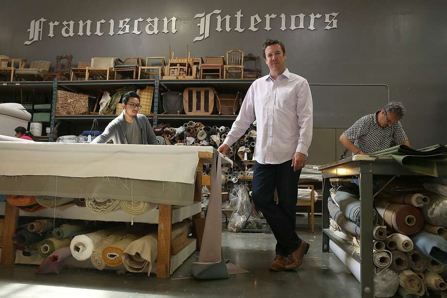Owner Scott Perryman shows the facility at Franciscan Interiors in San Francisco. Photo: Liz Hafalia, The Chronicle