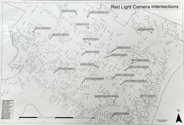 A map of the 20 intersections that red light cameras will be installed on Friday Feb. 6, 2015 in Albany , N.Y.  (Michael P. Farrell/Times Union) ORG XMIT: MER2015020615271289 Photo: Michael P. Farrell / 00030511A