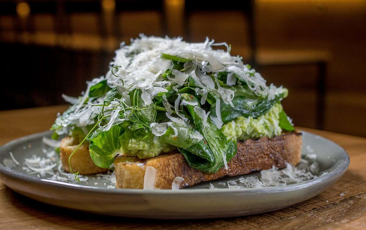 The Fava Bean Hummus Crostini at Jersey in San Francisco, Calif., is seen on April 23rd, 2015.