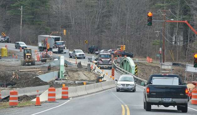 Work has begun on one of the Route 20 bridges over the Kinderhook Creek in Nassau, N.Y., Friday, April 24, 2015. (John Carl D'Annibale/Times Union)