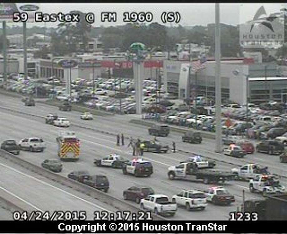 A four-vehicle accident on US-59 Eastex Freeway northbound near FM 1960 is blocks all mainlanes of traffic heading north around noon April 24, 2015. Photo: Houston TranStar