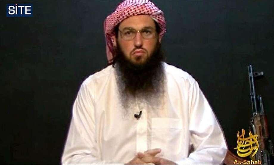 Al Qaeda American spokesman Adam Gadahn, shown in a 2010 video image, was killed in January in a CIA drone strike. Photo: Handout, AFP / Getty Images