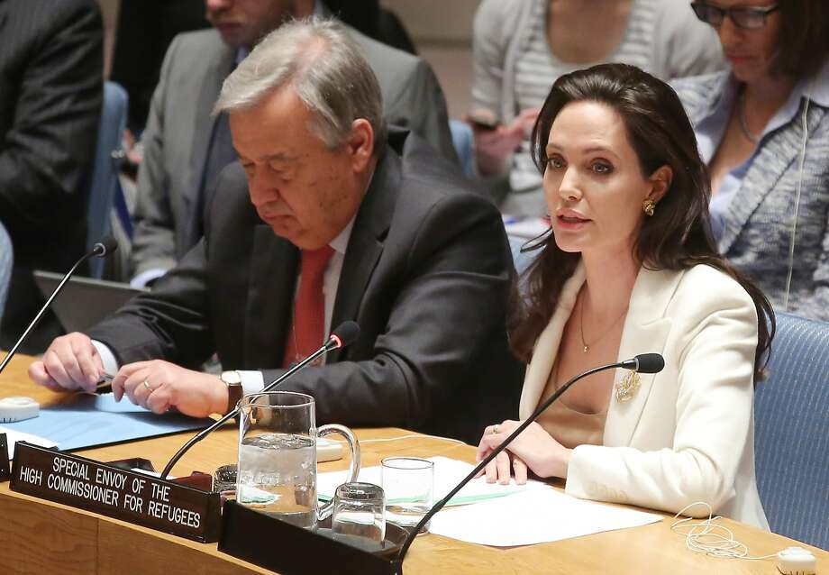 Actress Angelina Jolie addresses the U.N. in her capacity as a special envoy on refugee issues. Photo: Jemal Countess, Getty Images