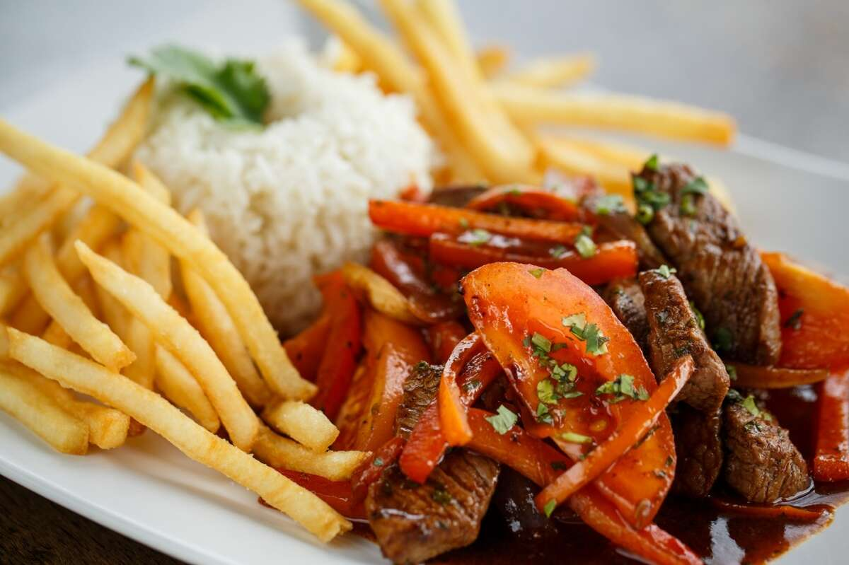 Lomo Saltado at Andes Cafe specializing in Peruvian and South American food from chef David Guerrero.