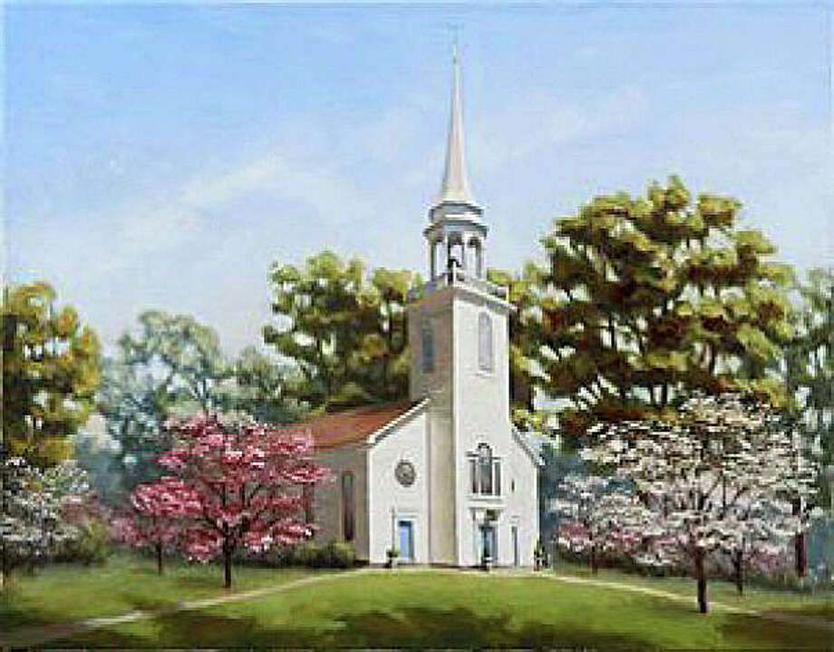 A print of the historic Greenfield Hill Congregational Church surrounded by blossoming dogwood trees that local artist Karl Soderlund created for the 80th Dogwood Festival at the church May 1-3. Framed prints will be sold at the festival. Photo: Contributed Photo / Fairfield Citizen