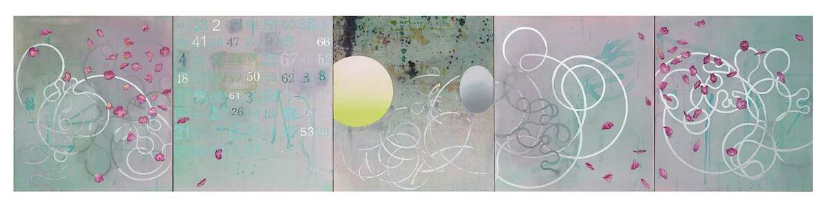 """At Texas Gallery in """"Recent and Remembered Work,"""" Carl Palazzolo's solo show (through May 9): 'Solange', 2015, Oil, acrylic, pencil and crayon on canvas and mounted on board (5) Panels - each 40 x 36é, overall dimensions 40 x 180é"""