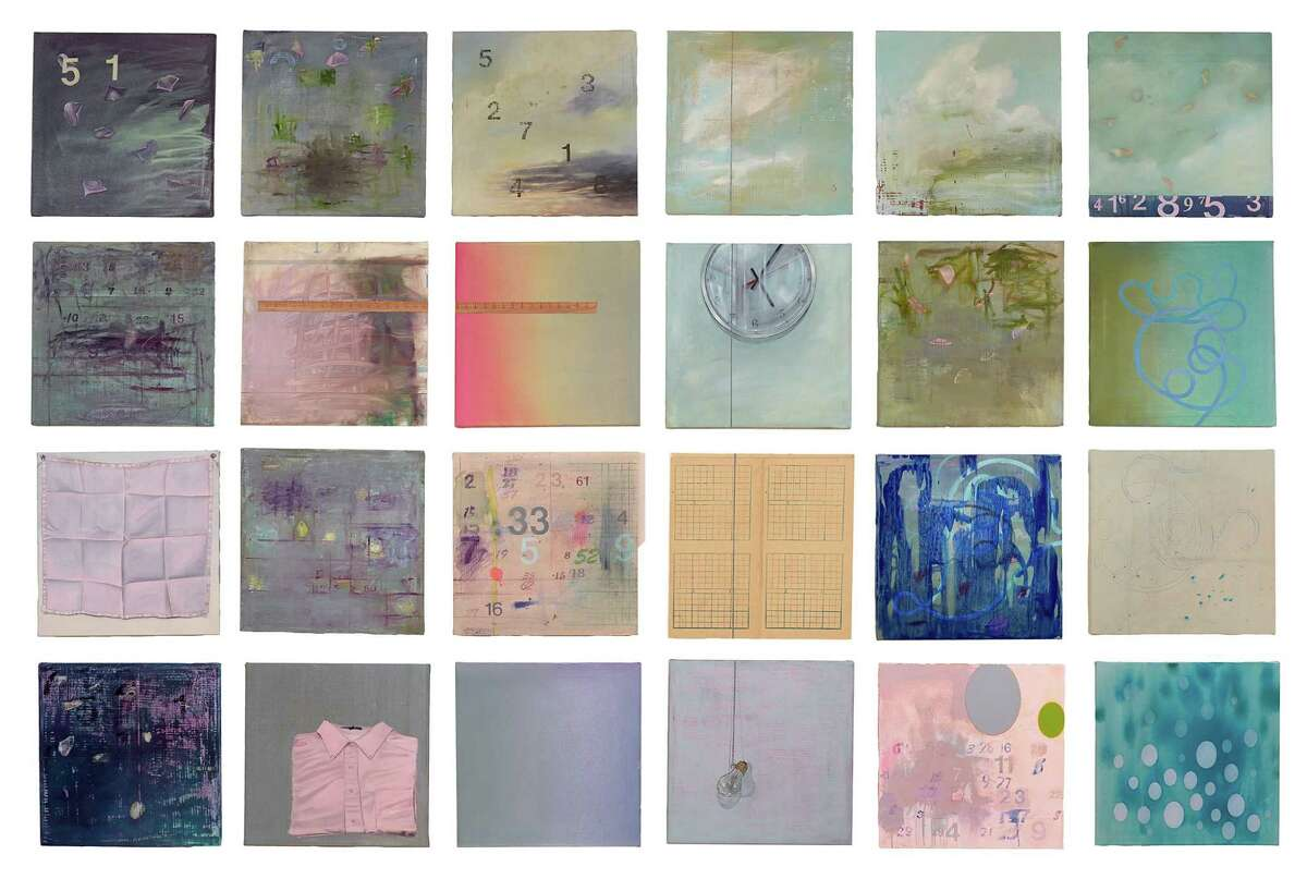 """At Texas Gallery in """"Recent and Remembered Work,"""" Carl Palazzolo's solo show (through May 9): 'The Hours', 2014, Oil, acrylic, pencil and crayon on canvas and paper mounted on board, (24) panels - each 20 x 20é, space 3é apart, overall dimensions 89 x 135é"""