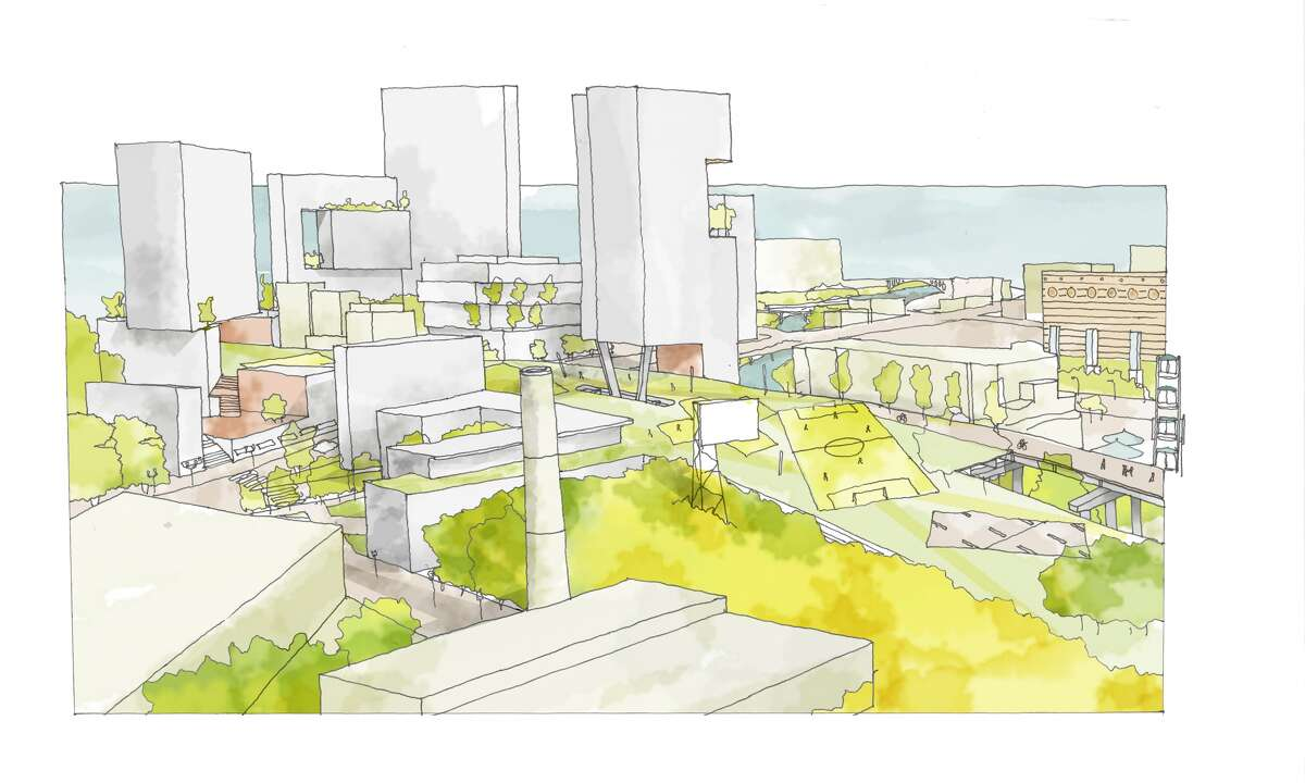 One of architect Marcus Martinez's concept drawings for the Pierce Skyline project. Here: a possible redevelopment of the Pierce Elevated Freeway and the site of the downtown post office. High-rise residential buildings could go over and even through the Pierce park.