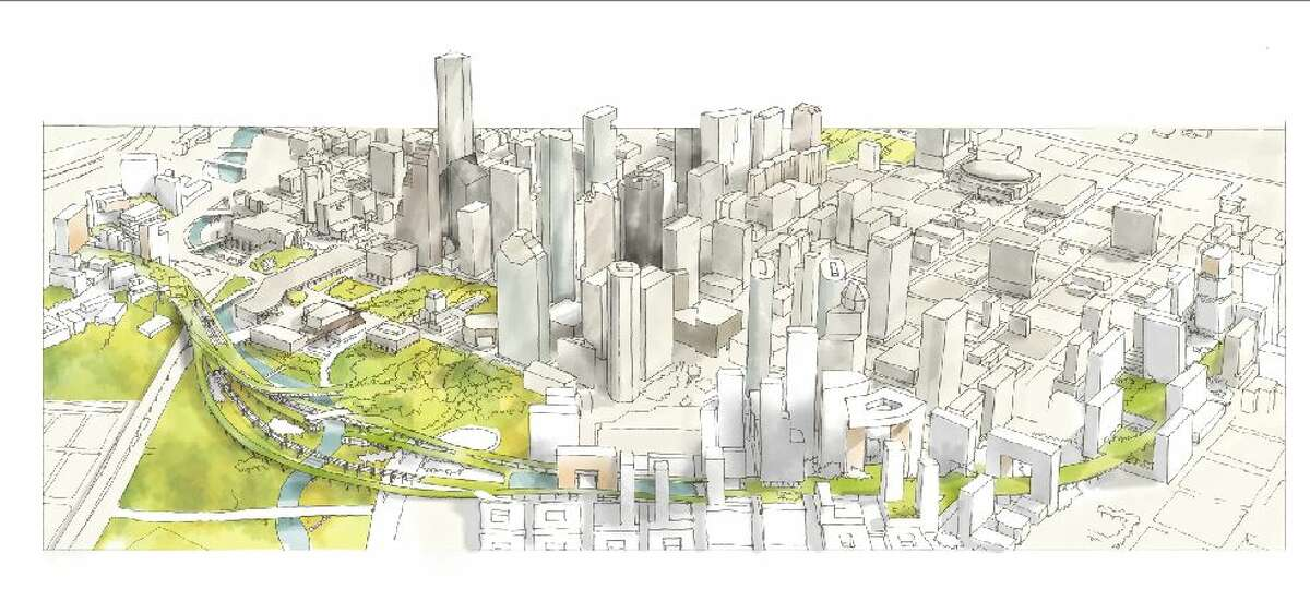 Pierce Skypark: Marcus Martinez's concept drawing of a park built atop what's now the Pierce Elevated Freeway.