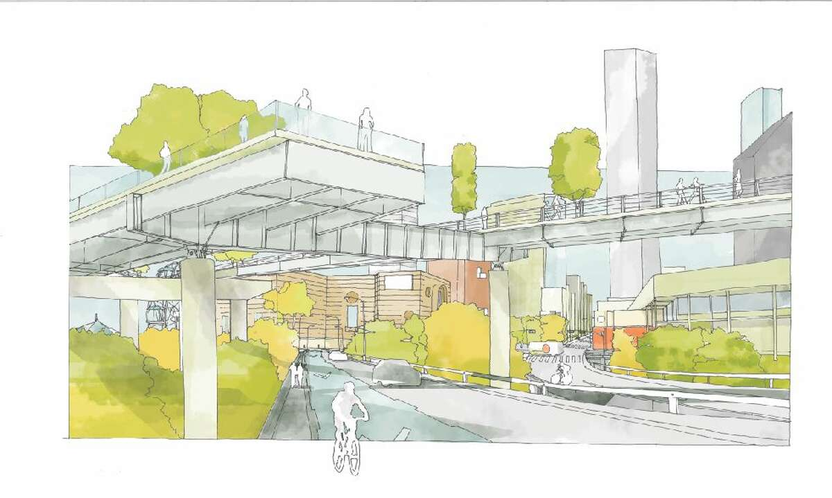 Architect's concept drawing of the Pierce Skypark at Prairie St.