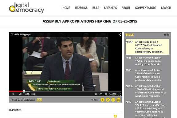 The Digital Democracy Project, www.digitaldemocracy.org, creates a searchable database of all state legislative hearings.