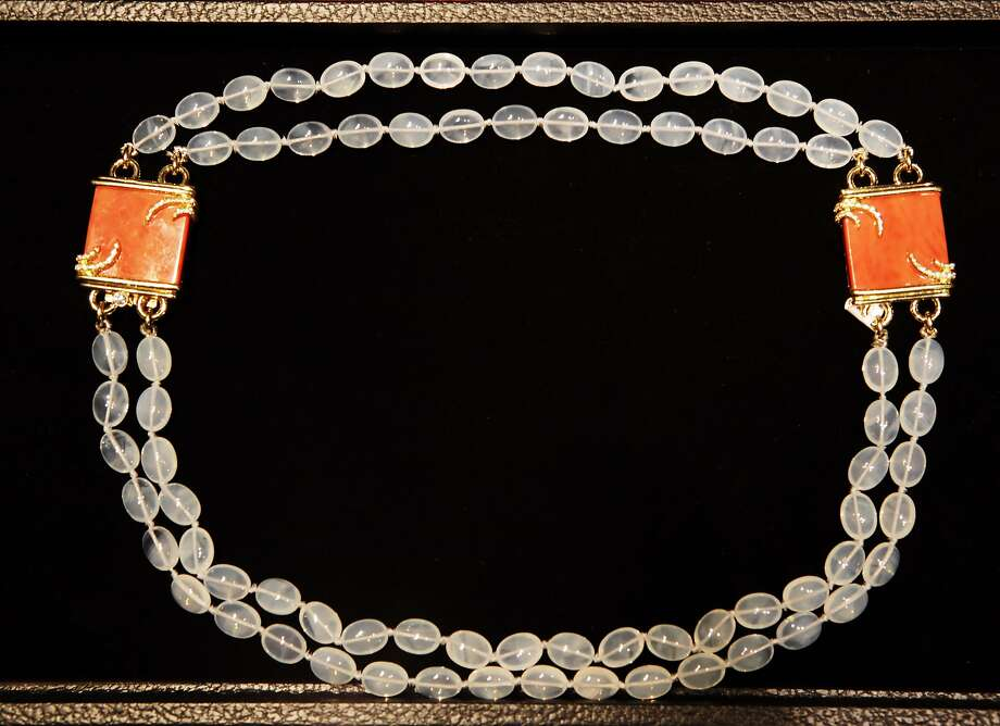Coral and moonstone necklace, $64,400. Shreve in San Francisco, Calif., is hosting a sale of the last remaining inventory of jewelry by Henry Dunay, considered America's finest jeweler. He made one-of-a-kind pieces with exquisite detailing, by hand, and is now in his late 70s and is retiring. His collection is displayed here on Wednesday, August 18, 2010. Photo: Carlos Avila Gonzalez, The Chronicle