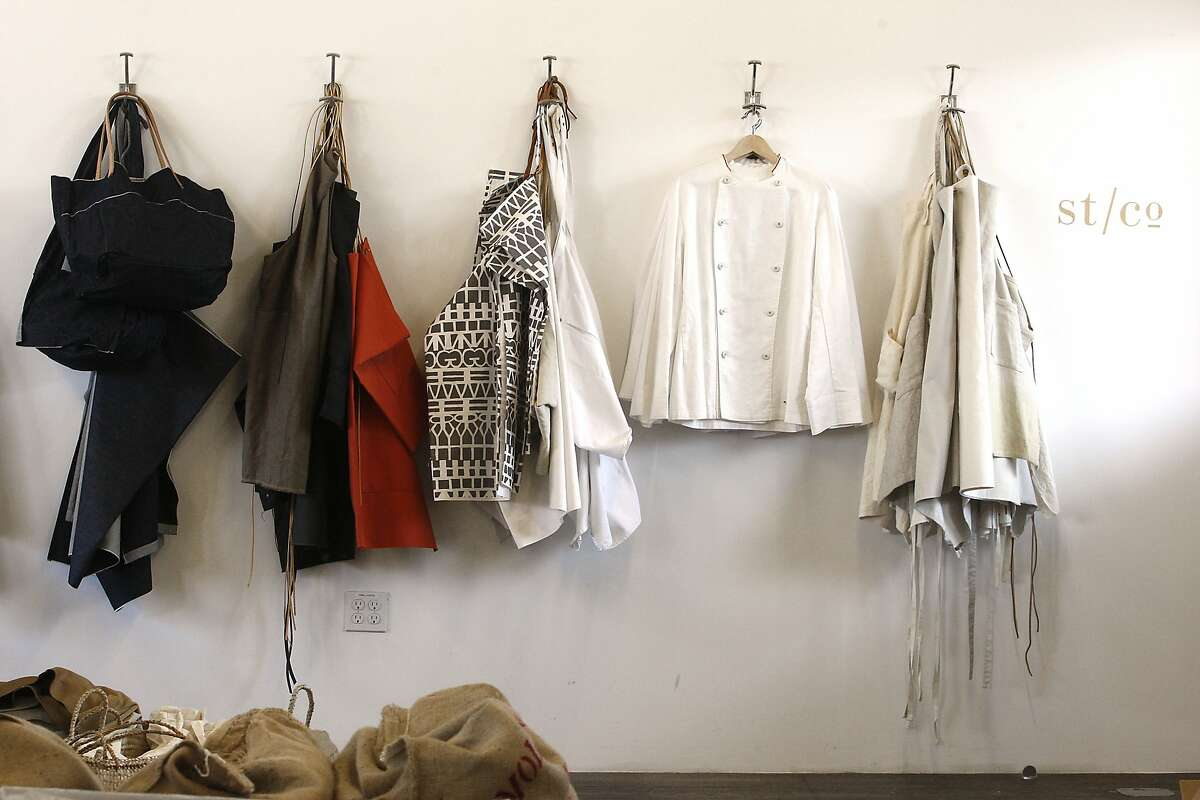 A view of uniforms on the wall of the studio of Matt Dick of Small Trade Co. in San Francisco, Calif., on Thursday, February 5, 2015.