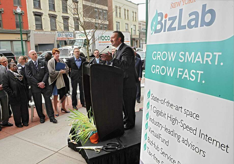 Antonio Civitella, founder and president of New York BizLab, speaks at an event celebrating the opening of the New York BizLab at 251 State St. on Friday, April 24, 2015 in Schenectady, N.Y.   (Lori Van Buren / Times Union) Photo: Lori Van Buren / 00031592A