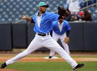 Bluefish pitcher D.J. Mitchell on the mound, during opening day baseball action against the Camden Riversharks at the Ballpark at Harbor Yard in Bridgeport, Conn., on Friday Apr. 24, 2015.