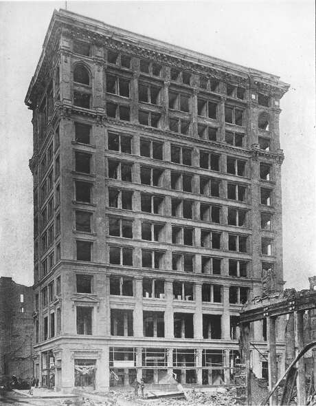 A 1906 photo shows the Shreve Building immediately after the earthquake. Its 12-story steel frame was undamaged. Photo: Courtesy Of Bethlehem Steel