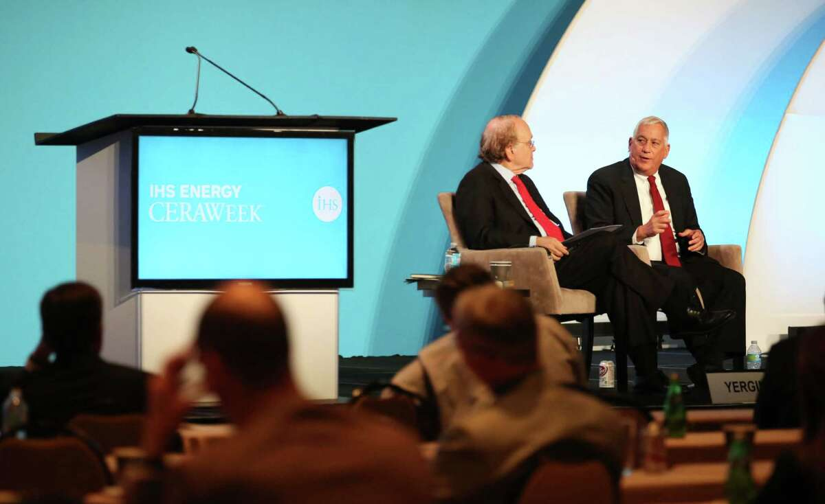 Daniel Yergin and Walter Isaacson speak during a panel discussion on the final day of CERAWeek at the Hilton Americas Hotel Friday, April 24, 2015, in Houston. ( Jon Shapley / Houston Chronicle )