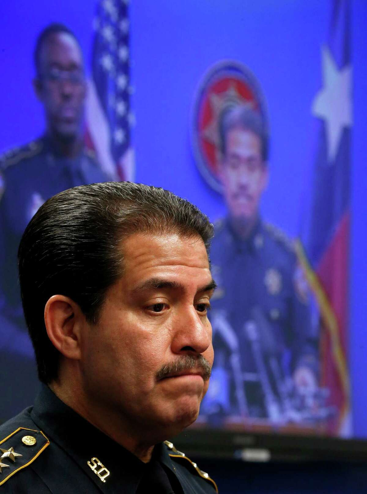 Harris County Sheriff Adrian Garcia announces during a press conference, Friday, April 24, 2015, in Houston, that he fired six jailers and suspended 29 other employees after an investigation revealed deplorable conditions in one cell where a mentally ill inmate was left unattended for weeks. ( Karen Warren / Houston Chronicle )