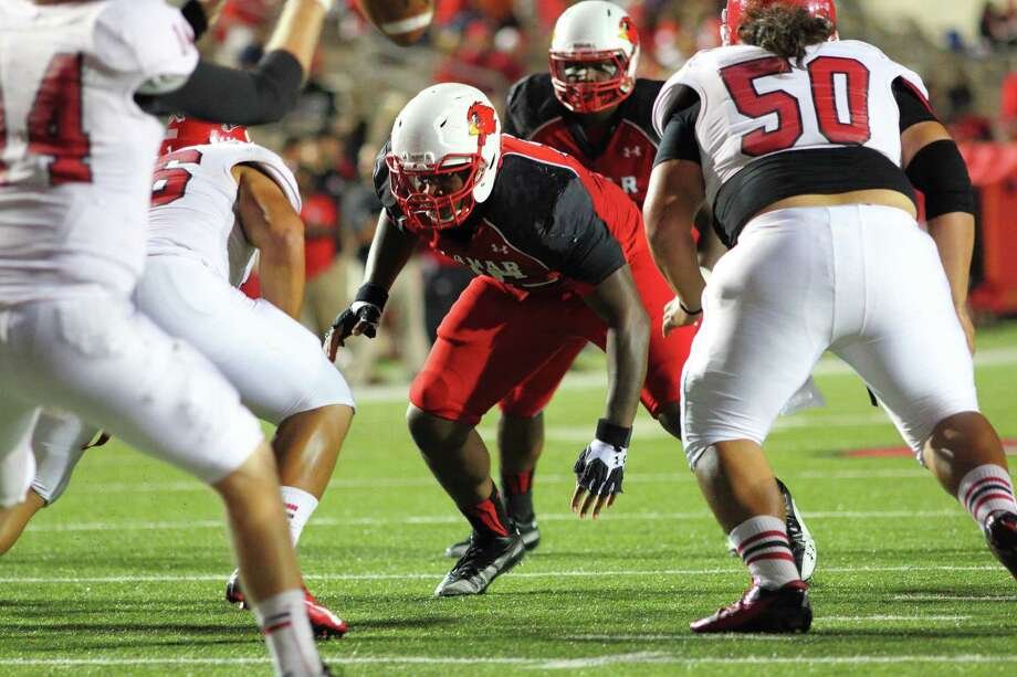 Lamar Cardinals' Joe Okafor may have to switch from defensive lineman to offensive lineman in order to see his dream of playing in the NFL come to fruition. Photo: Lamar Sports Information