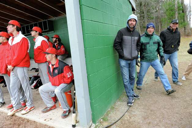 MLB scouts, including Frankie Chon, center, and Al Williams, to his right, follow a hit by Niskayuna outfielder Garrett Whitley during their baseball game against Shen on Friday, April 24, 2015, at Shenendehowa High in Clifton Park, N.Y. (Cindy Schultz / Times Union) Photo: Cindy Schultz / 00031580A