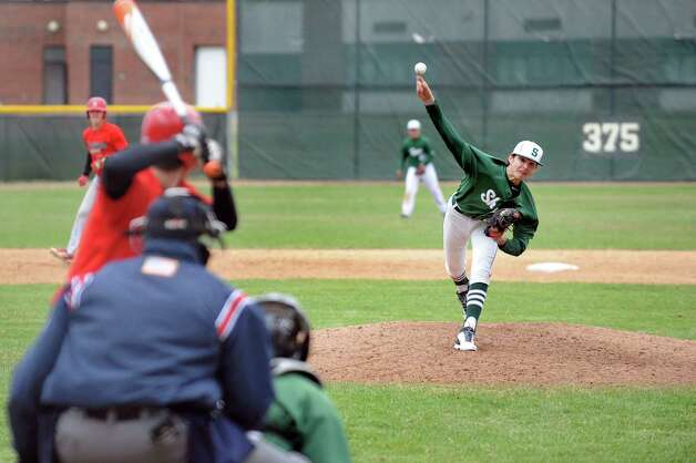 Shenendehowa pitcher Ian Anderson releases a pitch during their baseball game against Niskayuna on Friday, April 24, 2015, at Shenendehowa High in Clifton Park, N.Y. (Cindy Schultz / Times Union) Photo: Cindy Schultz / 00031580A
