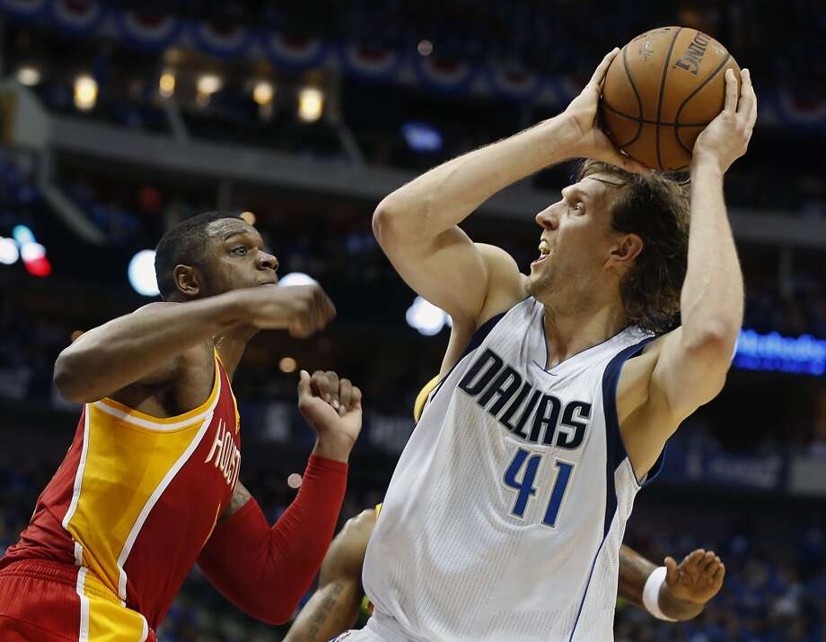 Opening night: Dirk's last rodeo?Dirk Nowitzki and the Mavericks visit in the Oct. 30 home opener for the first of their two visits. This may be Rockets fans' last chance to see catch Nowitzki, who'll be entering his 19th season in Dallas. Photo: Houston Chronicle
