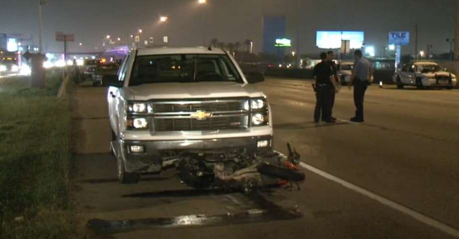 A motorcyclist was killed after he rear-ended a pickup on the southbound Gulf Freeway during a hard rain, April 25, 2015. Photo: Christian, Carol, Via Metro Video