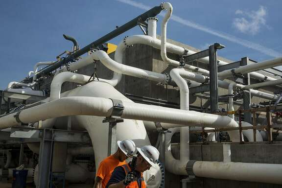 An array of pipes used to remove large particles from seawater, an early step of desalination at the Carlsbad Desalination Plant in Carlsbad, Calif., April 10, 2015. Long ignored as a costly and environmentally dubious option, desalination is again being pursued in California — but some contend this plant and others will become white elephants if rainy conditions return. (Damon Winter/The New York Times)