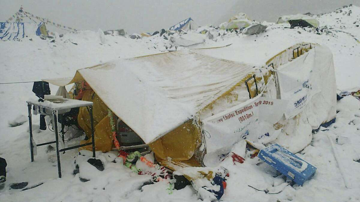 This photo provided by Azim Afif shows the scene after an avalanche triggered by a massive earthquake swept across Everest Base Camp, Nepal on Saturday, April 25, 2015. Afif and his team of four others from the Universiti Teknologi Malaysia (UTM) all survived the avalanche. (Azim Afif via AP)