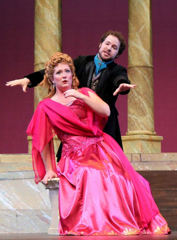 """Jennifer Ashworth (l.) and Michael Desnoyers in Gilbert and Sullivan's """"The Grand Duke"""" by the Lamplighters Photo: Joanne Kay"""