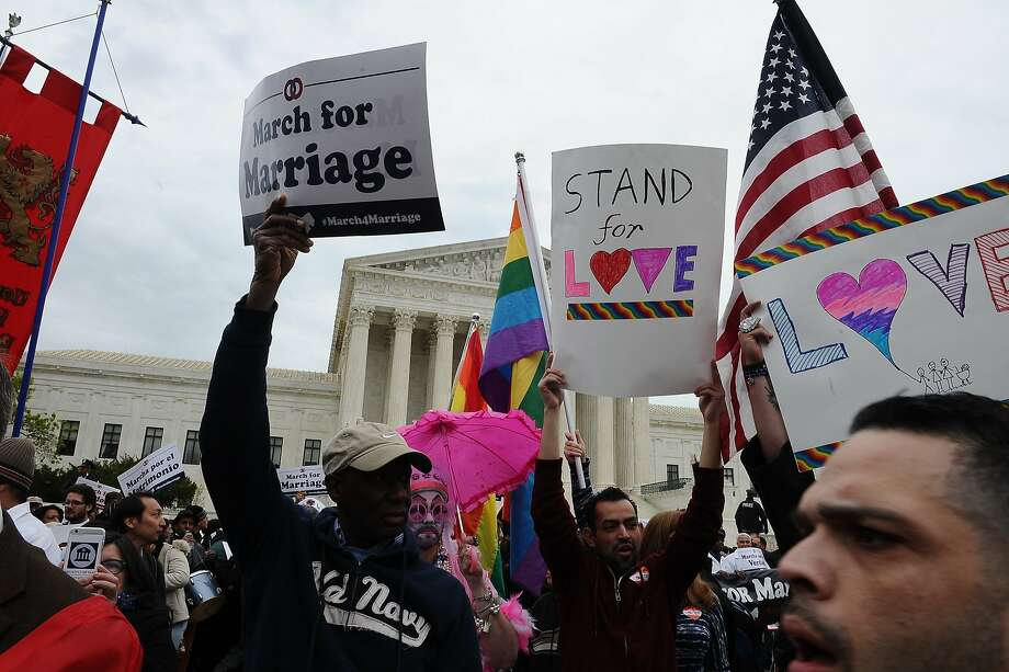 Demonstrators participate in the 2015 March for Marriage with a rally on the National Mall and a march to the US Supreme Court in Washington DC on April 25, 2015. (Photo by Mary F. Calvert) Photo: Mary F. Calvert, Special To The Chronicle