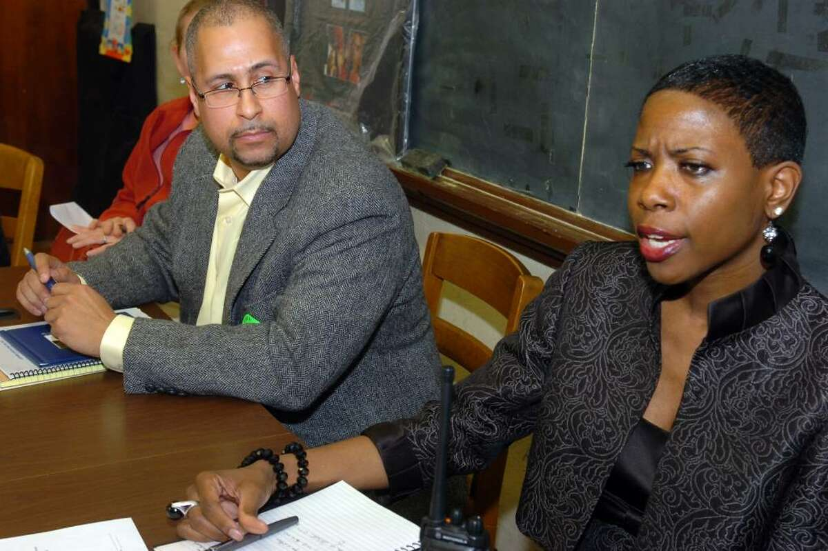 Harding High School Principal Carol Birks speaks during a meeting with state lawmakers, who visited the Bridgeport school on Tuesday, March 9th, 2010. She is seen here with State Rep. Jason Barlett (D-Danbury).