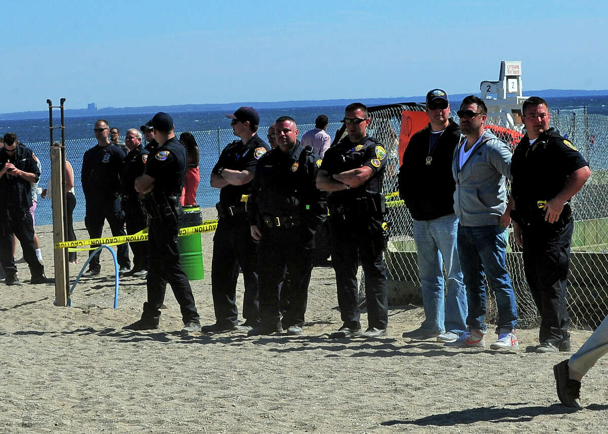 Fairfield University attend Clam Jam at Penfield Beach in Fairfield, Conn., on Saturday Apr. 25, 2015. In previous years the Clam Jam was held at various private homes around the beach area but this year is the first year the party was brought to the new location.
