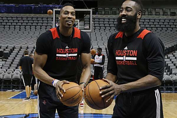 Houston Rockets center Dwight Howard  left, and Rockets guard James Harden during the Houston Rockets practice at the American Airlines Center Saturday, April 25, 2015, in Dallas. ( James Nielsen / Houston Chronicle )