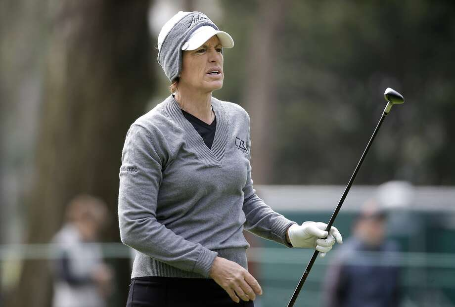 Julie Inkster, of Los Altos, Ca. watches her second shot on the first hole, during third round action at the Swinging Skirts LPGA  Classic golf tournament at Lake Merced Golf Course in San Francisco, Calif., on Sat. April 25, 2015. Photo: Michael Macor, The Chronicle
