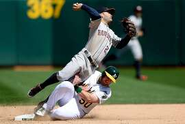 OAKLAND, CA - APRIL 25:  Max Muncy #50 of the Oakland Athletics breaks up the double-play sliding into Jose Altuve #27 of the Houston Astros in the bottom of the seventh inning at O.co Coliseum on April 25, 2015 in Oakland, California. The Astros won the game 9-3.   (Photo by Thearon W. Henderson/Getty Images)
