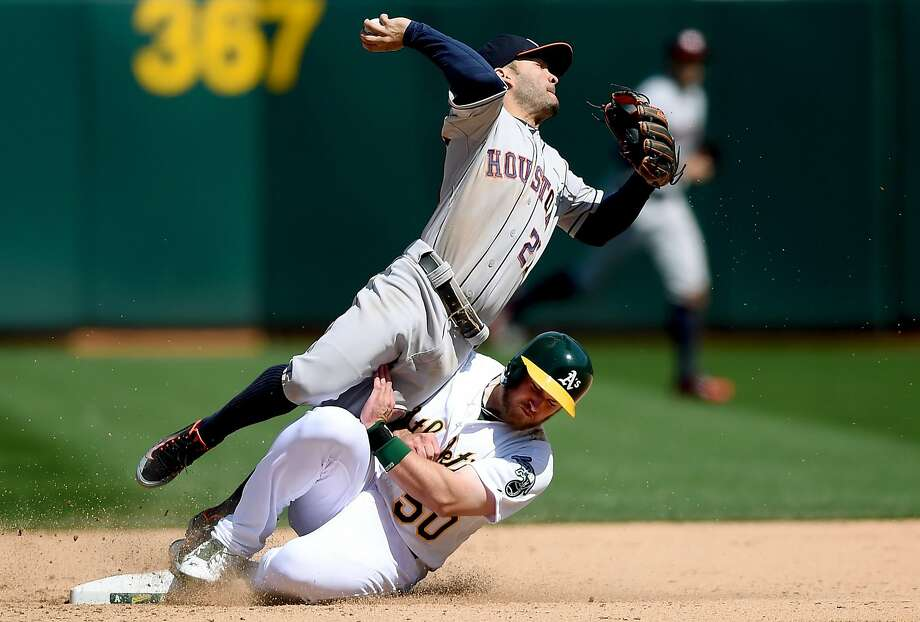 Max Muncy had several nice plays in his major-league debut, including this takeout slide of Astros second baseman Jose Altuve. Photo: Thearon W. Henderson, Getty Images