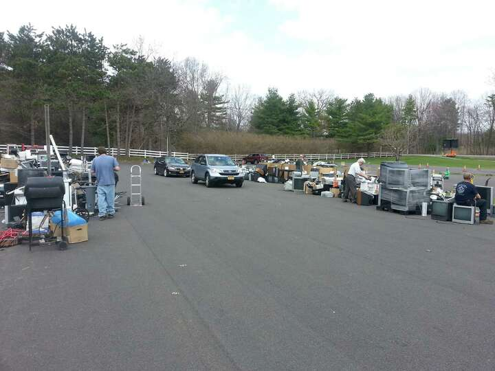 A portion of the 47,342 lbs total of electronics, appliances and scrap metal objects awaiting packin