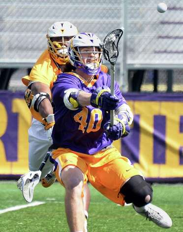 UAlbany's #40 Kyle McClancy takes a shot during Saturday's game against Maryland-Baltimore County at Bob Ford Field April 25, 2015 in Albany, NY.  (John Carl D'Annibale / Times Union) Photo: John Carl D'Annibale / 00031590A